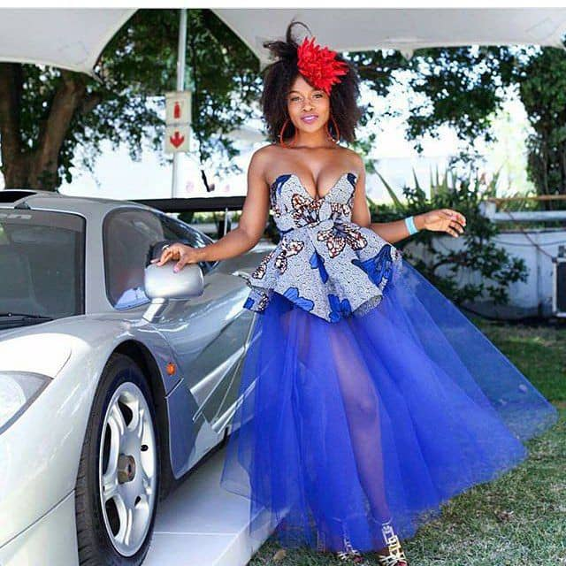 lady in ankara and blue net dress