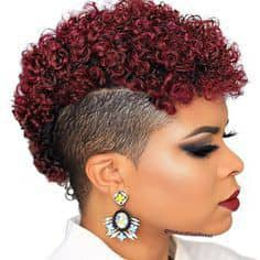 lady's hair dyed deep red