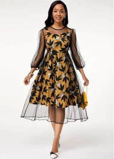 pretty lady in ankara and net dress