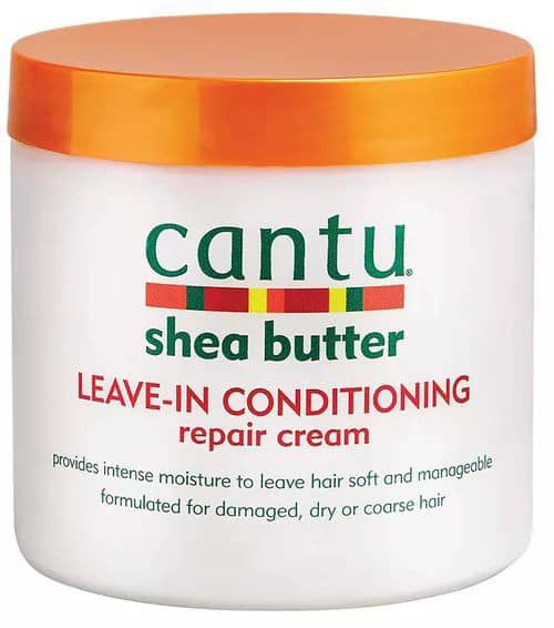 Shea butter leave-in conditioner in its container
