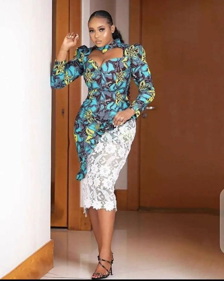lady wearing combined native print dress