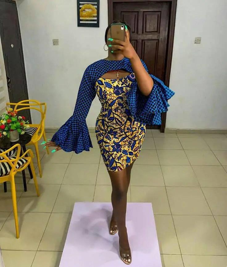 lady wearing mixed fabric dress