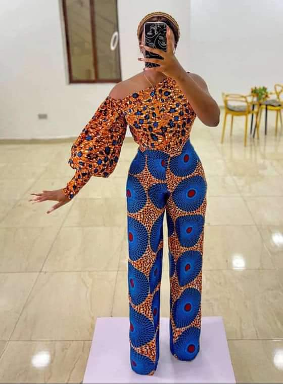 lady wearing different ankara top and trouser