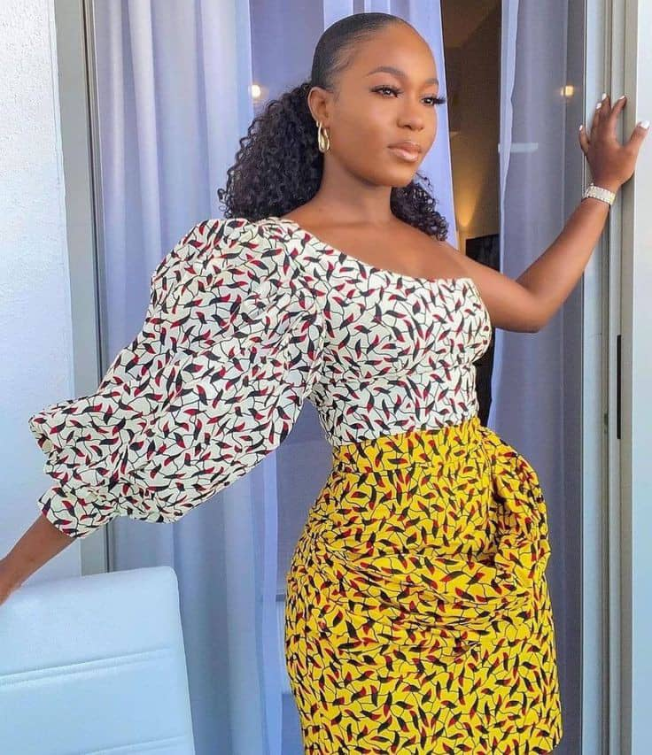 lady wearing related pattern ankara mix outfit