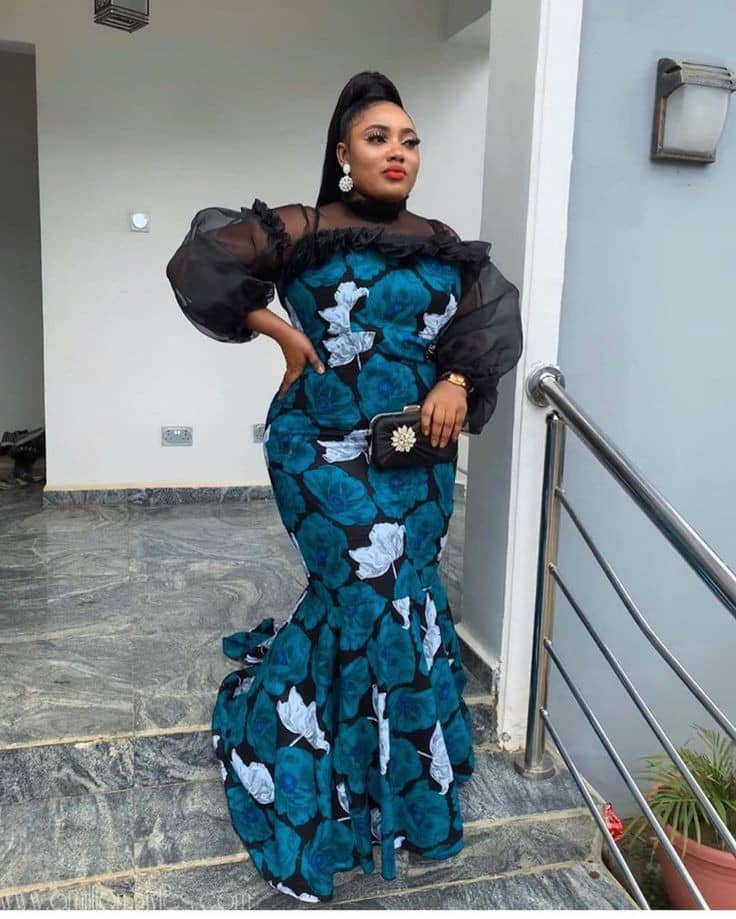 lady wearing ankara and organza long dress