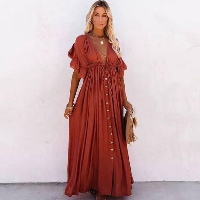 lady wearing brown maxi dress
