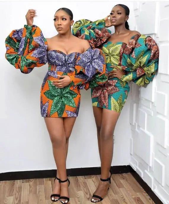 2 ladies rocking statement ankara tops and skirts