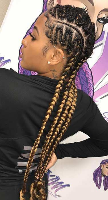 lady wearing zigzag cornrows