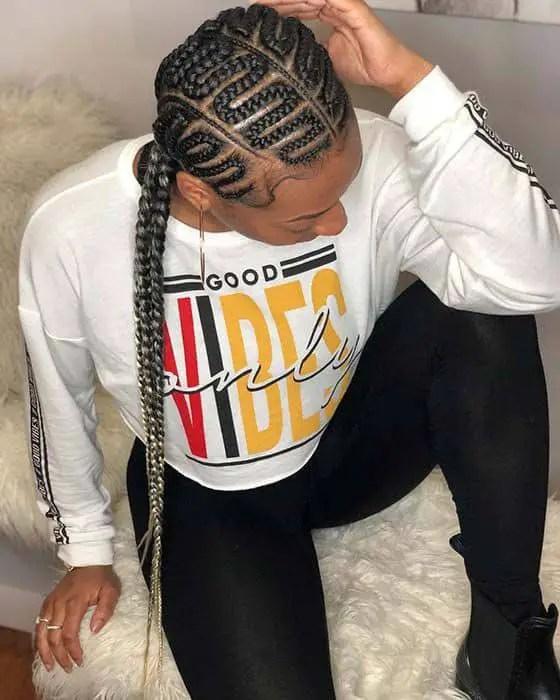 lady rocking zigzag cornrows hairstyle