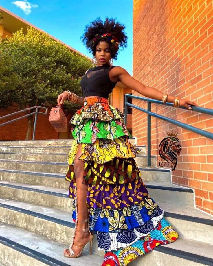 lady rocking ruffled ankara skirt