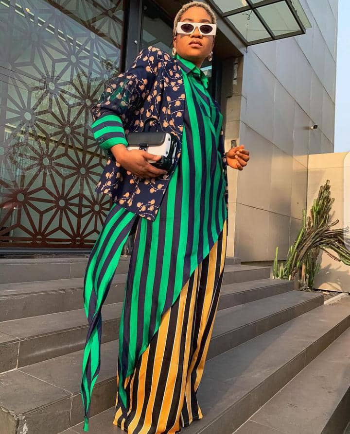 lady wearing mixed related prints