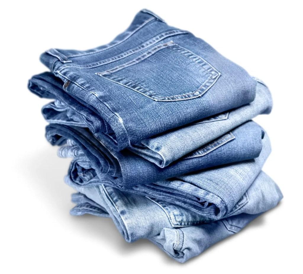 stack of original jean trousers