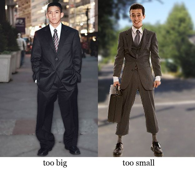 wearing wrong size clothes