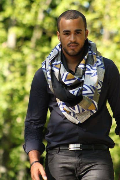 fine man wearing neck scarf