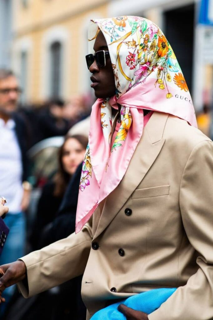 lady wearing scarf on a blazer