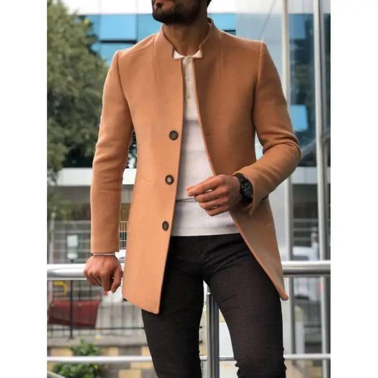 guy wearing brown jacket