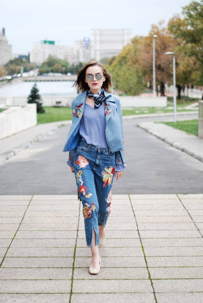 lady wearing jeans outfit with neck scarf
