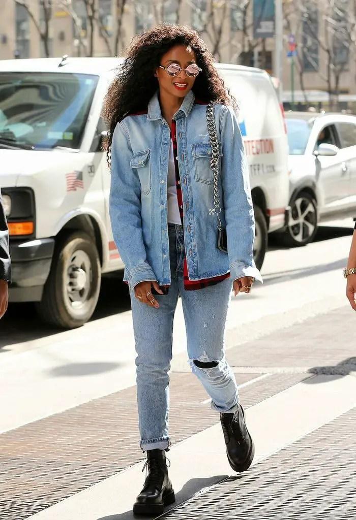 lady wearing denim jacket with jeans