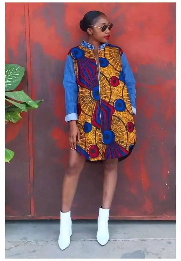 lady wearing ankara dress with jean sleeves