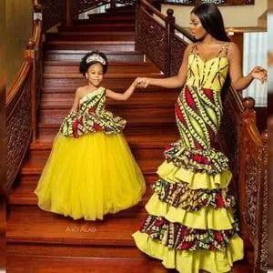 lady and daughter wearing matching ankara and organza dress