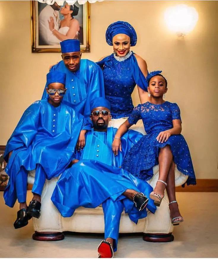 Yoruba family wearing matching blue native wear