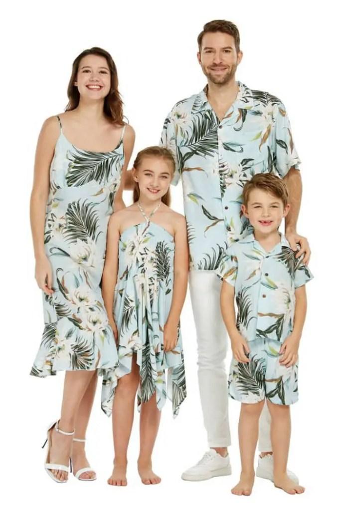 Hawaiian family wearing matching print clothes