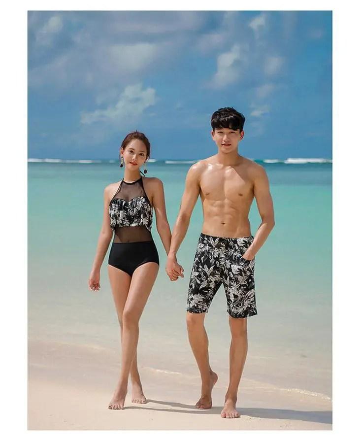 Asian couples rocking matching beachwears