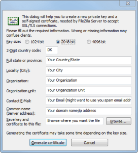 FileZilla Server Options Generate Certificate