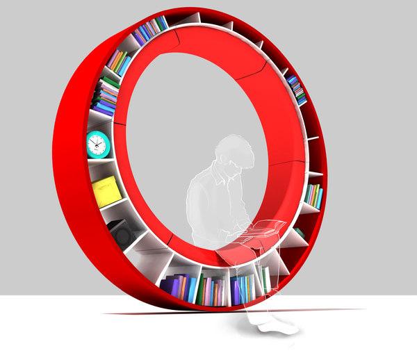 Bookshelf-Round-sofa