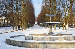 Bad Pyrmont Alle mit Brunnen im Winter 2013