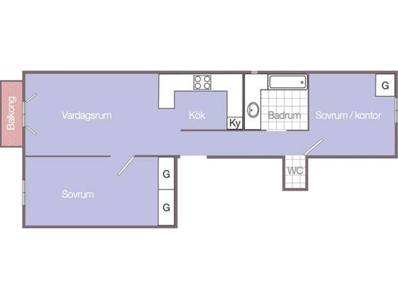 Lägenhet till salu i Cannes Banane svenska mäklare franska rivieran planlösning