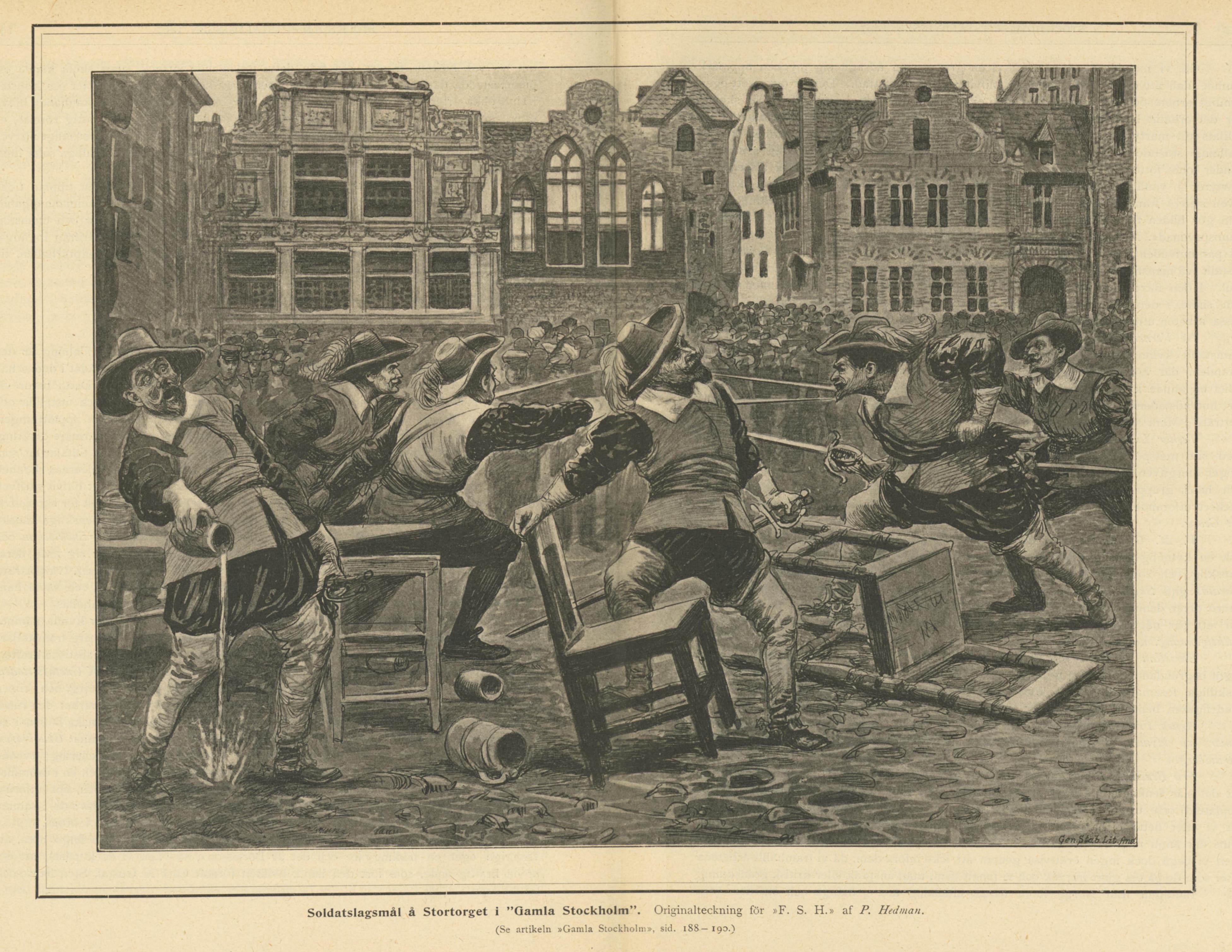 Soldatslagsmål på Stortorget - teckning av P. Hedman