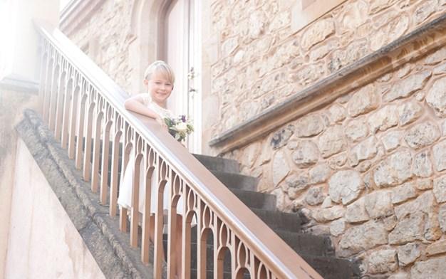 Flowergirl on stairs