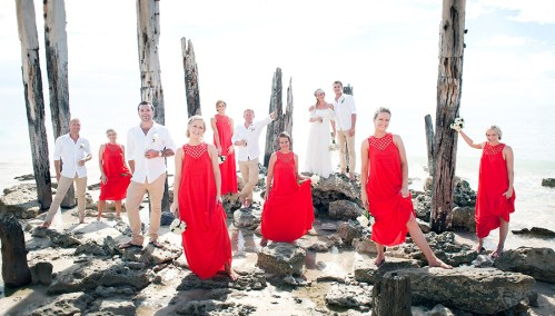 Bridal party in the pylons of Port Willunga Jetty
