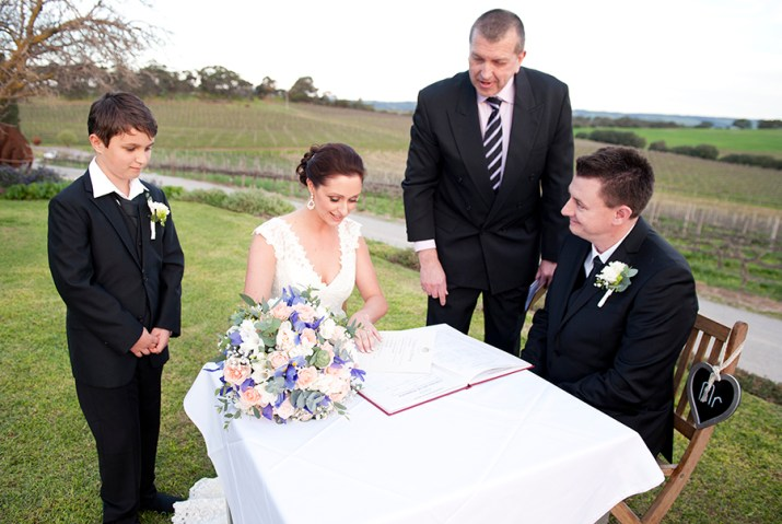 Signing the Wedding certificate