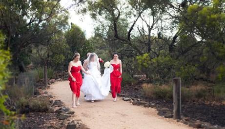 Bride walking