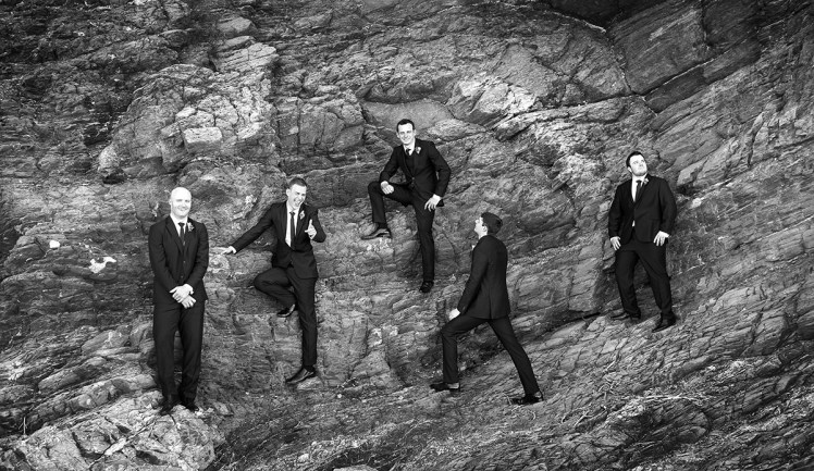 The grooms men in rocks at Second Valley