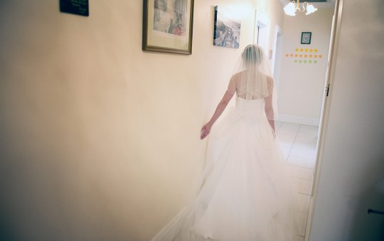 Bride walking about