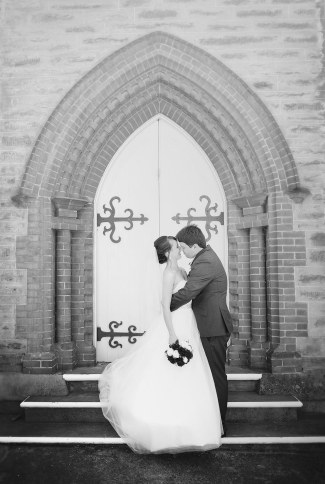 Bride and groom outside Gawler Uniting Church