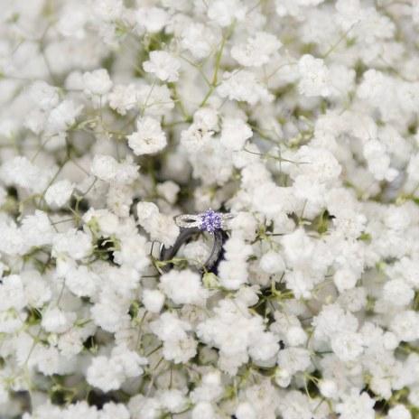 Wedding rings in flowers