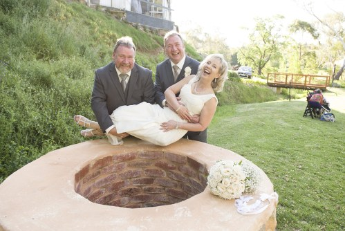 Bride in a wishing well