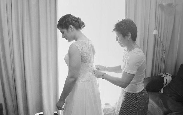 Bride being prepared