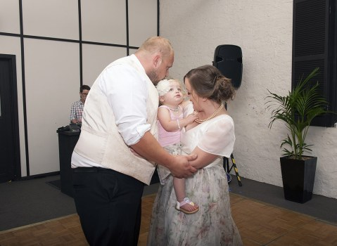 Bride groom and little one
