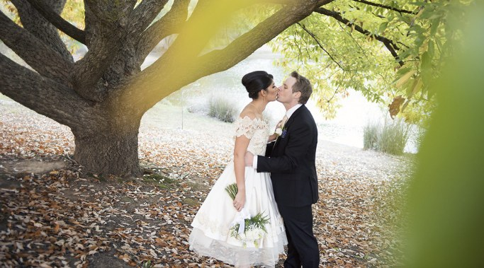 Kissing under a tree