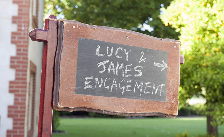 Lucy and James engagement sign