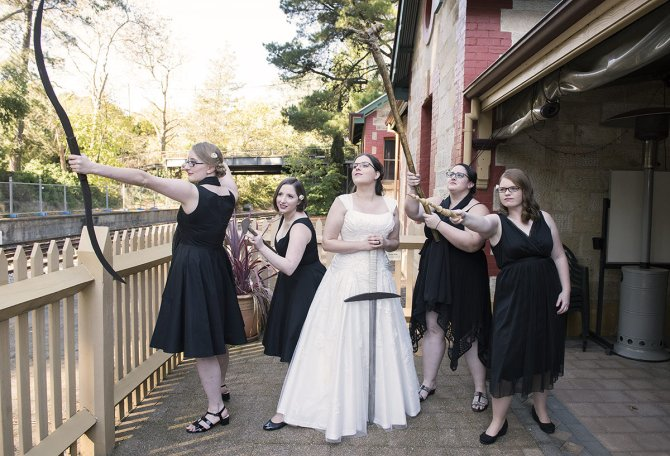 Bridal party with weapons