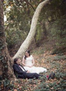 Bride and groom sitting
