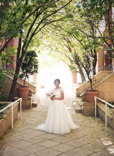 bride in trees