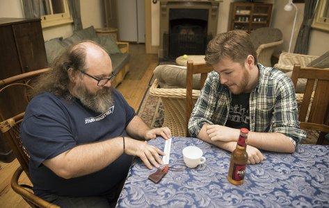 Groomsmen playing boardgames