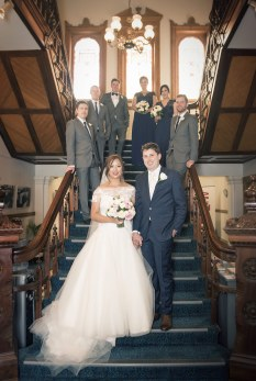 Wedding party on stairway